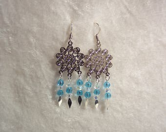 Blue Silver Chandelier Earrings, Winter Earrings, Snowflake Earrings, Icy Earrings, Blue Earrings, Silver Earrings, Clip ons Available