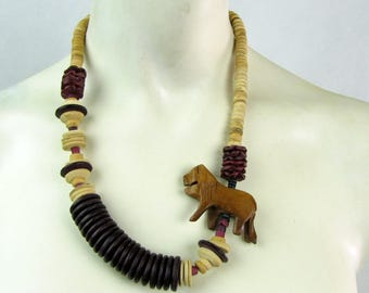 Vintage 1980s Wooden Beaded Asymmetrical Hand Carved Lion Necklace
