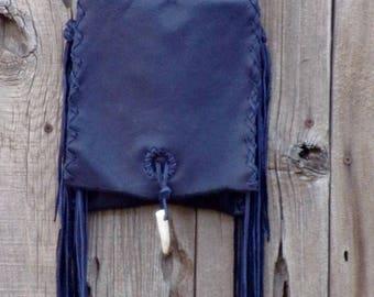 Dark blue leather handbag with fringe , crossbody phone bag , boho bag , festival bag