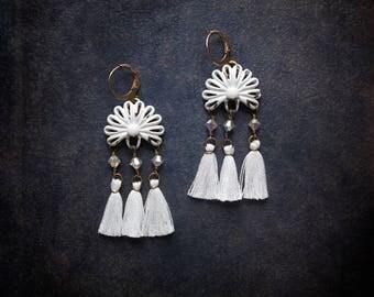 White Tassel Enameled Earrings Vintage Assemblage Festival Tiny White Bohemian Swarovski Crystal  Upcycled Repurposed  Retro Fringe