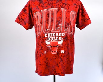 Marbled Chicago Bulls T-shirt by Logo 7, Size Large, Made in the USA
