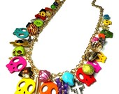CUSTOM LISTING For STACY Colorful Day of the Dead Statement Necklace, Skull Charm Necklace, Dia De Los Muertos Jewelry