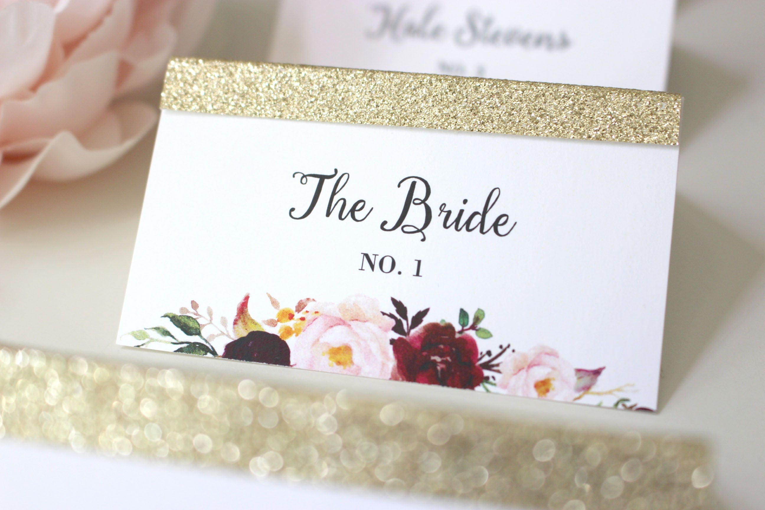 Gold Glitter Place Card Wedding Placecards Marsala Place