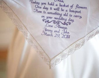 Flower Girl Gift Wedding Day Gift Embroidered Wedding Hankerchief, Flower Girl, Gift, By Canyon Embroidery