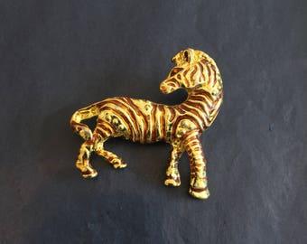 Gold and Bronze Zebra Brooch // Novelty Brooch
