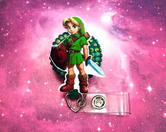 Link Legend of Zelda Nerd Geek Retractable ID Badge Reel Holder Nurse Rn CNA Technician Work Name Tag Nicu Pediatric Gamer Video Game