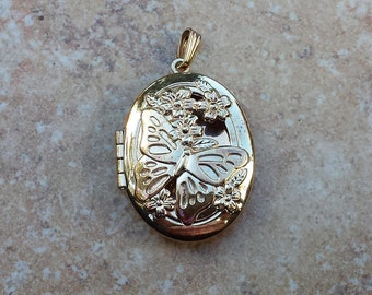 Oval Butterfly and Flowers Gold Tone Locket Pendant, Two Sided Locket