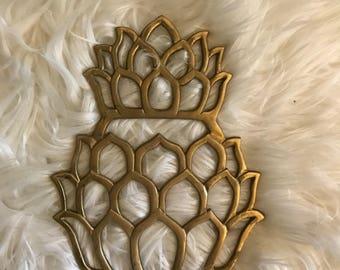 Vintage Brass Pineapple Trivet Mid Century Decor