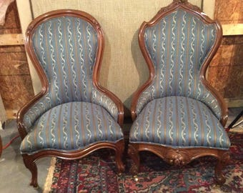 Matching Victorian Walnut Carved His and Hers Chairs - Blue Upholstery