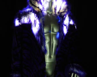 Purple Liger Faux fur LED  Light Up Coat - Satin Galaxy Space Print Interior - Great for Burning Man! -Purple Lion Tiger Faux Fur LED Jacket
