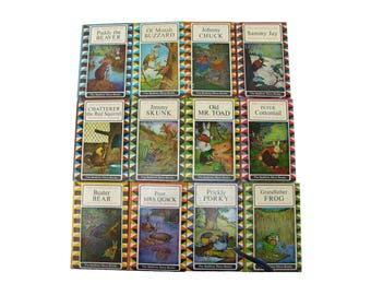 Set of Twelve Vintage Thornton Burgess The Bedtime Story Books 1964 Color Hard Covers Beaver Buzzard Toad Skunk Squirrel Cottontail