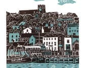 Scarborough No.1 two-colour linocut print in teal and dark brown/grey