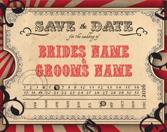 Save the Date - Wedding Invitation Postcard Vintage Carnival Circus Steampunk Themed