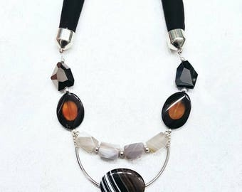 Chunky Black and White Stone Geometric Avant Garde Statement Necklace