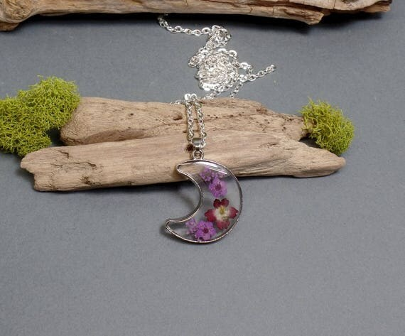 Flower Crescent Moon Necklace - Floral Moon Necklace - Resin Moon Necklace - Resin Flower Necklace - Purple Flower Moon