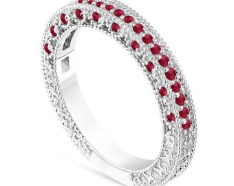 Ruby Wedding Band, Anniversary Ring, Half Eternity Ruby Ring, 14K White Gold Vintage Style Unique Handmade Birthstone Pave 0.38 Carat