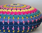 Retro Colorful Throw Pillow Crocheted Home Decor Decorative Rainbow  Cushion Reversible