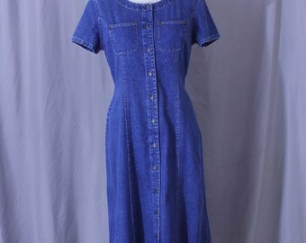 Vintage denim dress by Crazy Horse for Liz Clairborne, medium, full tea length