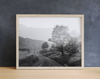 Black and White Country Photograph, Black and White Landscape, Physical Print