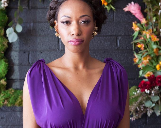 Stardust Royal Purple- Tulip Cut Long Maxi Dress -Octopus Infinity Convertible Wrap Gown~ Bridesmaids, Bohemian, Maternity, Prom