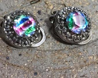 Vintage Sterling Silver Rainbow Gem Clip Earrings
