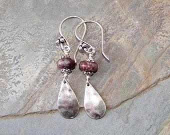 Lepidolite Earrings, Natural Stone Earrings, Purple Earrings, Dangly Earrings, Bohemian Earrings, Handmade Jewelry, Rustic Earrings