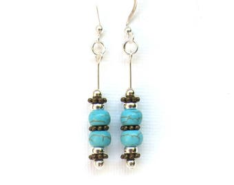 Turquoise & Bronze Earrings/ Sterling Silver Earrings/ Turquoise Howlite/Sterling Silver Beads/ Bronze Daisy Spacers/Boho Turquoise Earrings