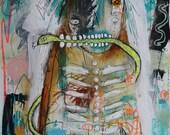 Abstract Snake Priest Painting Art Print. Dark art gift, modern art, Nola voodoo priest, art brut, outsider art. gothic home decor, for him