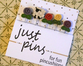 SHEEP in the MEADOW PINS.  Perfect for Decorating Ornaments & Pin Cushions.