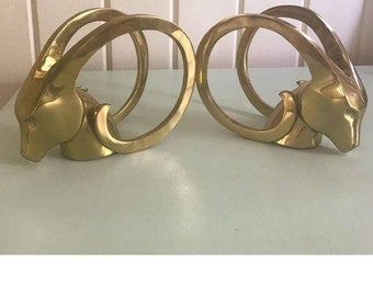 hollywood regency style brass ibex bookends