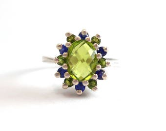 Peridot Genuine Recycled Oval Gemstone Created Sapphire Sterling Silver Ring August Birthstone September Birthday
