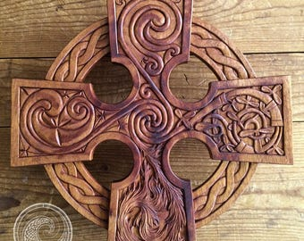 Elemental Celtic Cross Hand Carved in Mahogany Wood