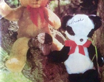 Vintage Sewing Pattern Stuffed Teddy Bear and Panda Bear Pajama Cases Uncut 1980's Floppy Toys 64 cm Embroidered Features Purchased Eyes