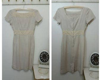 1950s Fitted Linen Dress, Tan, size XS/S 34 Bust