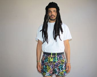 1990s Vintage Graphic Vaurnet France Neon Tribal Hip Hop Swim Trunks Men's Shorts - 90s VTG Swimming Shorts - 90s Clothing - MV0420