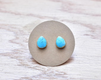 Gold Teardrop Turquoise Stud Earrings/ Gold Stud Post Earrings Natural Bright Blue Turquoise/ Natural Turquoise Blue Gold (GSS15)