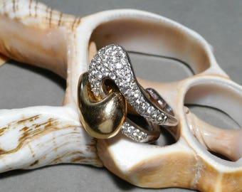 14k Ciemme Puzzle Ring 1.25ctw Diamonds Yin Yang Motif 11.38g Size 9.5