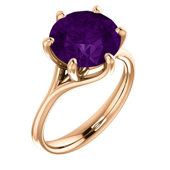 Garnet or Amethyst Rose Gold Statement Ring