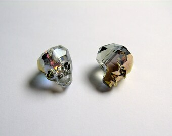 Crystal faceted skull - 2  pcs - 14mm - Mystic gold dual tone  - SFB17