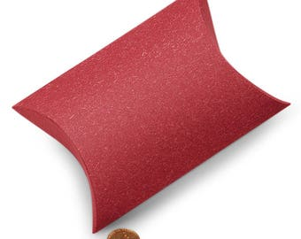 25 Sandy Red Pillow Boxes - 5 1/8 x 5 3/4 x 1 1/2