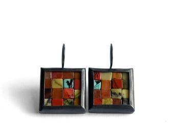 Mosaic Earrings - Fall Colors - Red Orange Gemstone Silver Earrings - Square Earrings - Foliage Colors - Red Orange Earrings - Ready To Ship