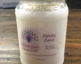 Candy Cane Soy Candle, Soy Candles, Handmade Soy Candles, Soy Candle, Christmas Candle, Holiday Candle, Peppermint Candle, Christmas Gift
