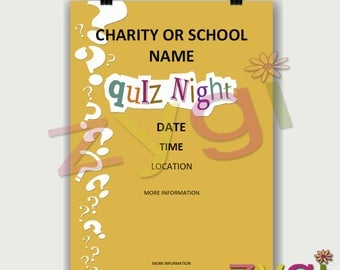 Printable Charity or PTA poster-quiz night fund raiser- Editable and Printable- you print and edit- INSTANT DOWNLOAD