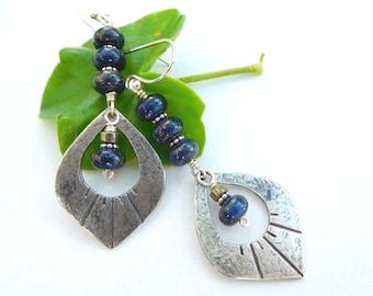 Sterling silver lapis earrings - Lapis dangle earring - Blue stone earrings - Boho drop earrings - long blue boho earrings