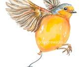 Bird Watercolour Painting Print - English Robin, Balloon Watercolor, Nursery Art, Pop Surrealism