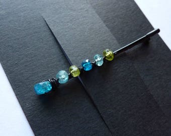 Blue and Green Gemstone Bobby Pin - Neon Blue Apatite, Caribbean Blue Apatite, Peridot -  Gemstone Bobby Pin