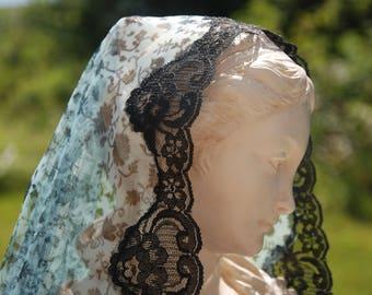 Turquoise and Black Mantilla in Honour of Saint Emilie de Rodat, Veil, Head Covering
