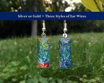 Van Gogh Irises earrings, Van Gogh earrings, small glass earrings, colorful floral / flower earrings, Irises