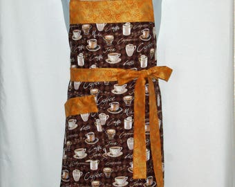 Coffee Apron, Latte, Custom Gift, For Wife, Mom, Personalized With Name, Full Bib Long With Pockets, No Shipping Fee, Ships TODAY, AGFT 1202