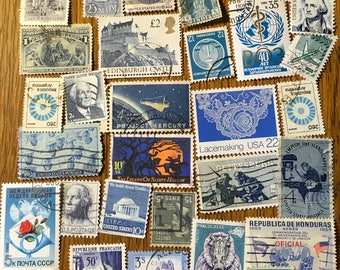 30 Blue Used World Postage Stamps for crafting, collage, cards, altered art, scrapbooks, decoupage, history, collecting, philately 19a